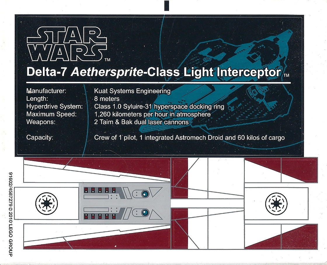 Sets that have 91602 sticker sheet star wars ucs obi wans jedi starfighter